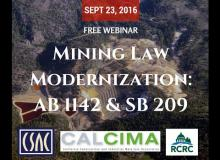 CSAC Webinar – Mining Law Modernization: AB 1142 and SB 209 – What They Did